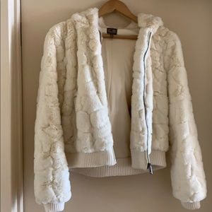Cream faux fur jacket, size small, WORN ONCE!